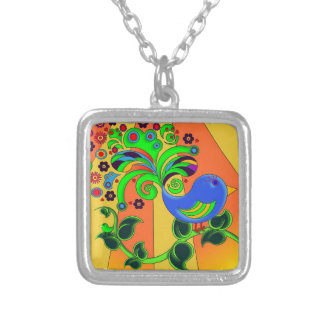 Psychedelic Abstract Bird Silver Plated Necklace