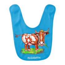 Psychedelic Abstract Cartoon Colorful Funny Cow Baby Bib