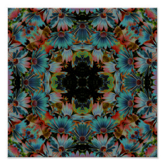 Psychedelic Abstract Daisies Flower Kaleidoscope Poster