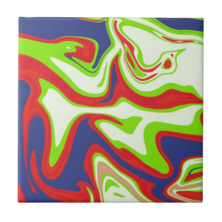 Psychedelic Abstract Design Ceramic Tile