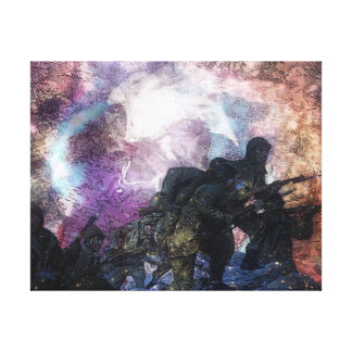 Psychedelic Abstract Marching Soldiers Canvas Print
