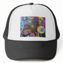 Psychedelic abstract pattern trucker hat