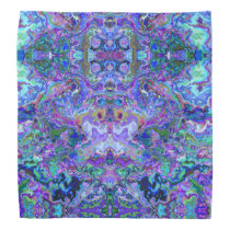 Psychedelic Abstract Purple and Teal Pattern Bandana