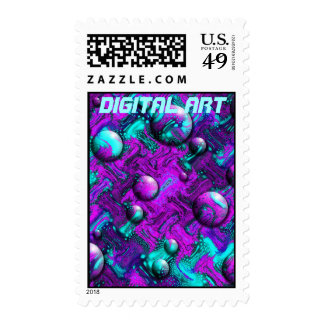 Psychedelic Abstract with Bubbles Postage