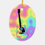 Psychedelic Acoustic Guitar Double-Sided Oval Ceramic Christmas Ornament