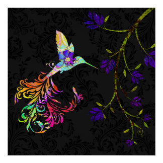 Psychedelic afternoon, a hummingbird print