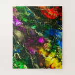 """Psychedelic Alcohol Ink Abstract Painting Jigsaw Puzzle<br><div class=""""desc"""">Fabulous abstract colorful alcohol ink painting artwork with rainbow colors and gold metallic ink throughout.</div>"""