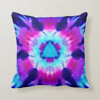 Psychedelic Alien Invasion Rainbow Throw Pillow