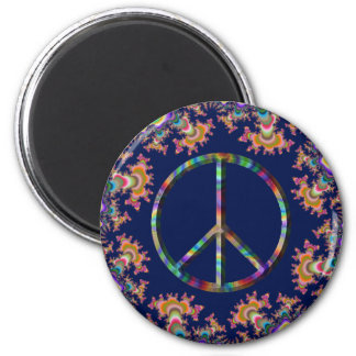 Psychedelic Anemone Peace Sign Magnet