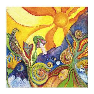 Psychedelic Art Canvas 60s Retro Hippie Woman Sun