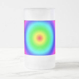 Psychedelic Art Gifts: Funky Rainbow Circles Frosted Glass Beer Mug