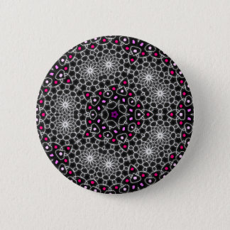 Psychedelic badge coloured kaleidoscope pinback button