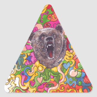 Psychedelic Bear Triangle Sticker