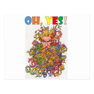 Psychedelic Beard Guy Postcard