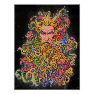 Psychedelic Beard Guy Poster