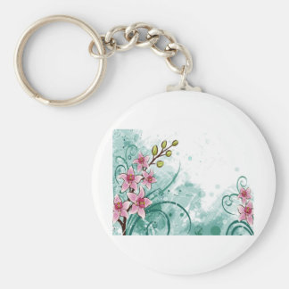 psychedelic beautiful flower abstract basic round button keychain