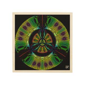 Psychedelic bio-hazard symbol (or whatever u see) wood print