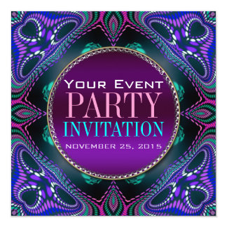 "Psychedelic Blacklight Adult Party Invitation 5.25"" Square Invitation Card"
