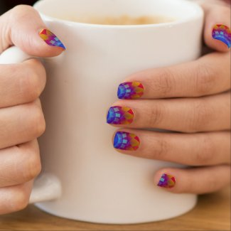 Psychedelic Blue and Yellow Sun Nail Art Minx Nail Wraps
