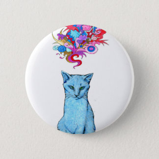 Psychedelic Blue Cat Button