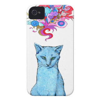 Psychedelic Blue Cat iPhone 4 Case-Mate Case