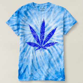 Psychedelic Blue Chronic Pot Leaf Tee