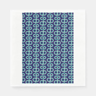 Psychedelic blue circles paper napkin