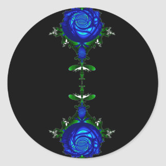 Psychedelic Blue Classic Round Sticker