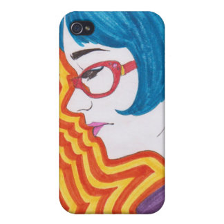 Psychedelic Blue-Haired Girl iPhone Case iPhone 4/4S Cover