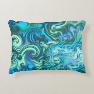 Psychedelic Blue Pillow-swirly turquoise & aqua Decorative Pillow