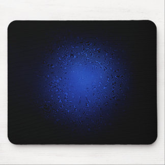 Psychedelic Blue Swirls on Black Mouse Pad