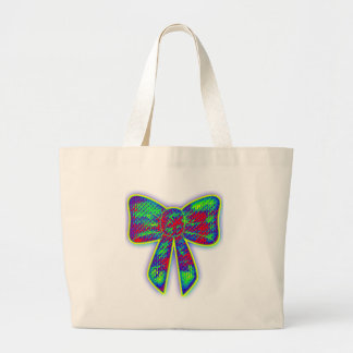 Psychedelic bow tote bags