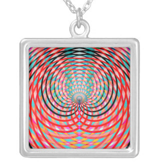 Psychedelic Braided Circles Square Pendant Necklace