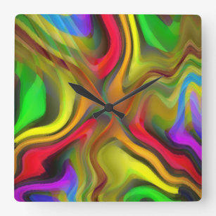 Psychedelic Breakfast Square Wall Clock