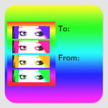 Psychedelic Bright Eyes Gift Tag Stickers