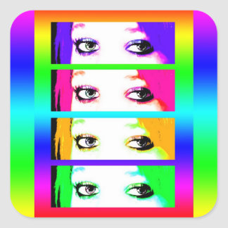 Psychedelic Bright Eyes Stickers