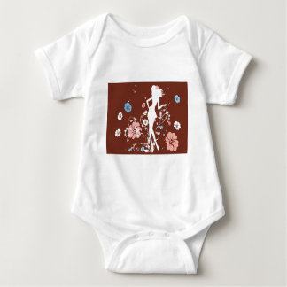 psychedelic brown girl flowers baby bodysuit