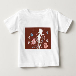 psychedelic brown girl flowers baby T-Shirt