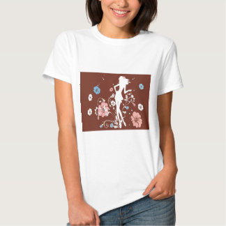 psychedelic brown girl flowers tee shirt