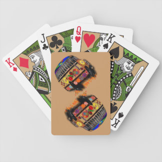 Psychedelic  bus bicycle playing cards