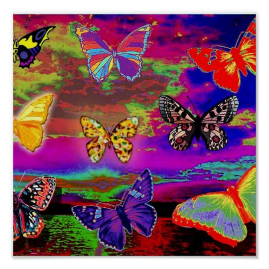 e361bdb877 psychedelic Butterflies Poster