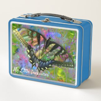 [Psychedelic Butterfly] Colorful Cookie Tin Metal Lunch Box