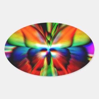 Psychedelic Butterfly Fractal Oval Sticker