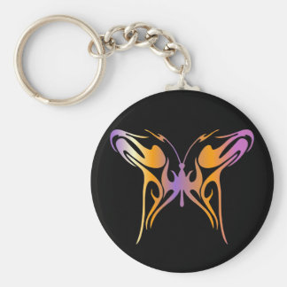 Psychedelic Butterfly Basic Round Button Keychain