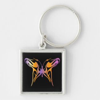 Psychedelic Butterfly Silver-Colored Square Keychain