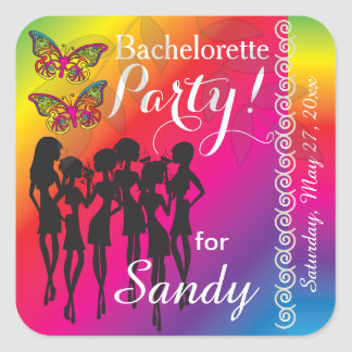 Psychedelic Butterfly Party Girl | Bachelorette Square Sticker