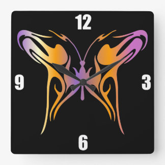 Psychedelic Butterfly Square Wall Clock