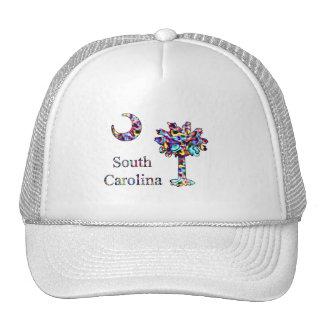 Psychedelic Carolina Palmetto & Crescent Cap Trucker Hat