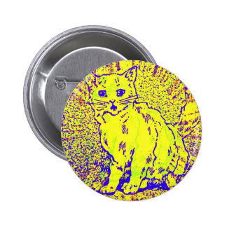 Psychedelic Cat Artwork Button