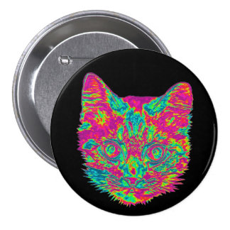 Psychedelic Cat Button (Large)